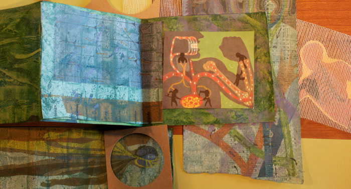 altered book, mixed media  (The Human Body:  What it is and how it works, 1959)