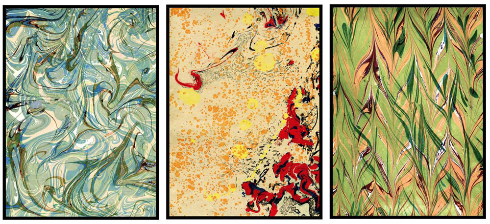 "Paper marbling sampler, ""overprinting"" examples - printing on the same paper over and over again, 2015"