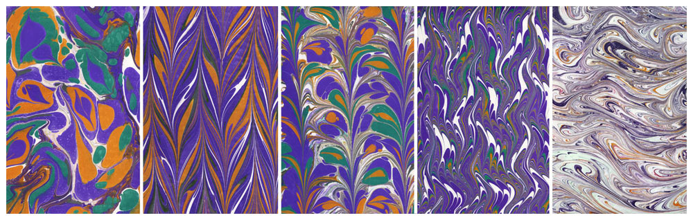 Paper marbling sampler - surface design steps (left to right) stone pattern, get gel, raked, nonpareil patterns, and finally a waste/ghost print