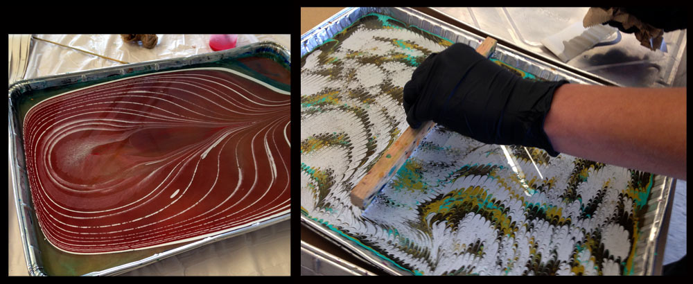 Paper marbling set-up and combing the design