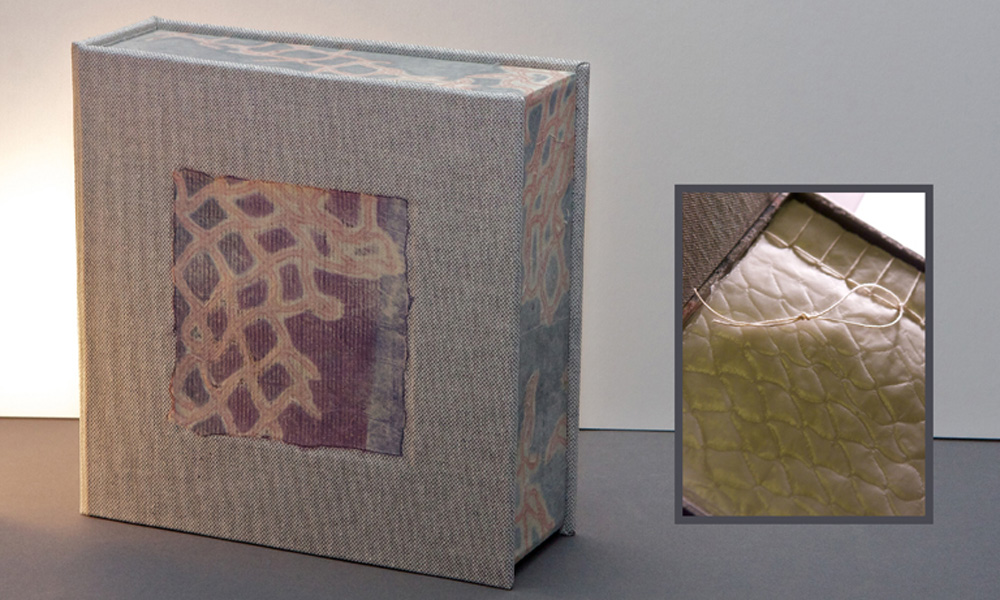 "Emma, artist's book, 2011, monoprints, wax paper, 7 x 7 x 2.25"" depth, hinged box with 2 wax paper books, French linen thread, Japanese puncture bind"